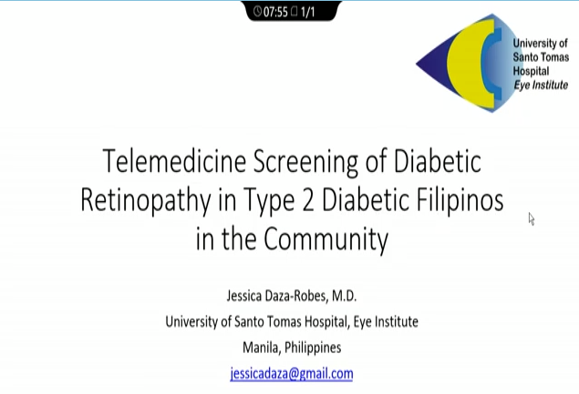 Jessica Daza-Robes – Telemedicine Screening of the Prevalence of DR among Type 2 Diabetic Filipinos in the Community