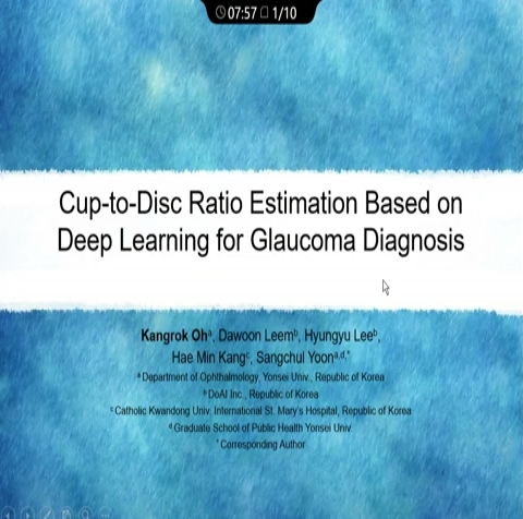Kangrok Oh – Cup-to-Disc Ratio Estimation Based on Deep Learning for Glaucoma Diagnosis