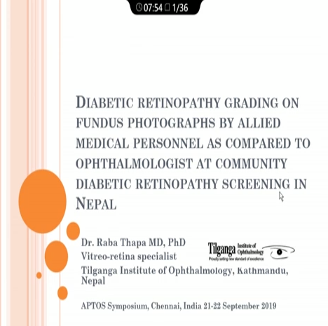 Raba Thapa – DR Grading on Fundus Photographs by Allied Medical Personnel as Compared to Ophthalmologists at Community DR Screening in Nepal