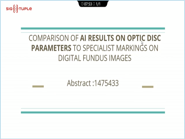 Rekha Sharma – Comparison of AI Results on Optic Disc Parameters to Specialists Marking on Digital Fundus Images