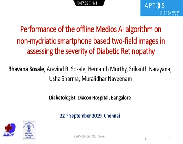 Bhavana Sosale – Performance of the Offline Medios AI Algorithm on Non-Mydriatic Smartphone-Based Two Field Fundus Images in Assessing the Severity of DR