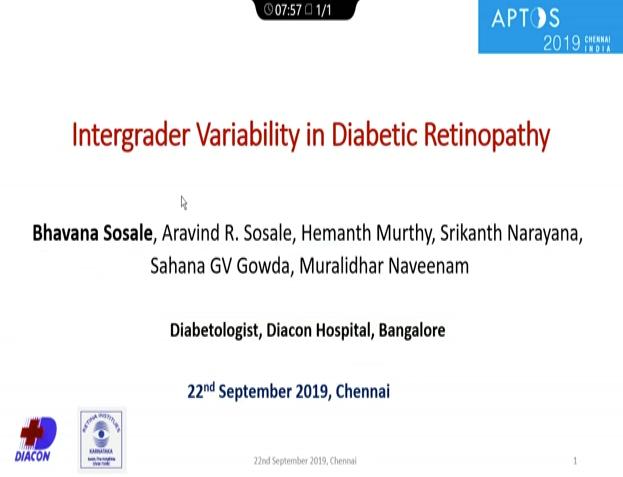 Bhavana Sosale – Intergrader Variability in Diabetic Retinopathy